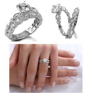 .925 Sterling Silver Engagement Wedding Ring Set